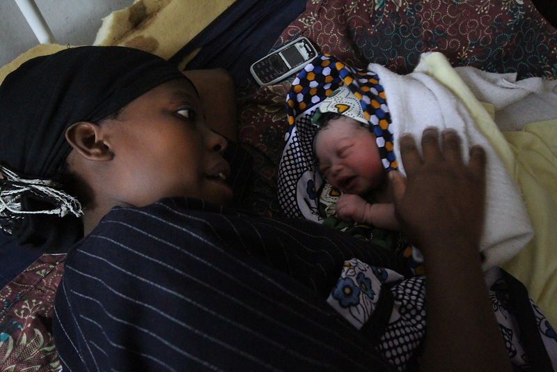 Mother and child, post-natal unit, Shinyanga, northern Tanzania. (for the Touch Foundation.)