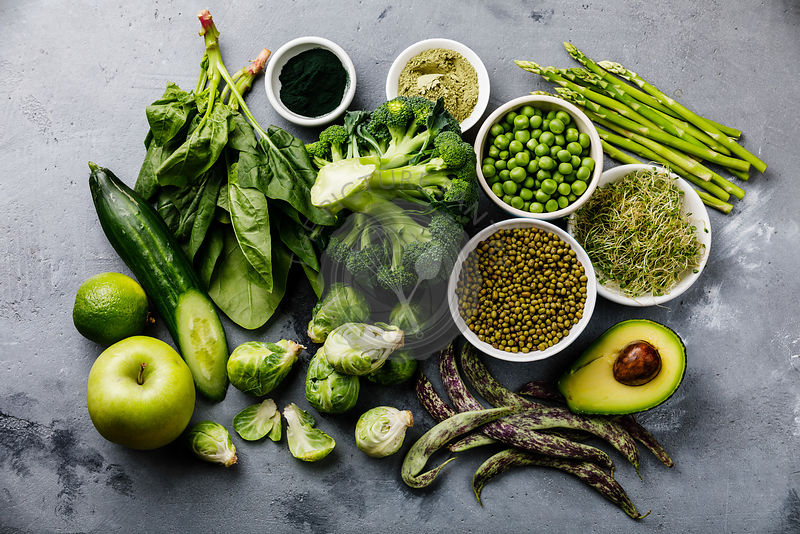 Healthy Green food Clean eating selection Protein source for vegetarians: asparagus, avocado, broccoli, spinach, spirulina, g...