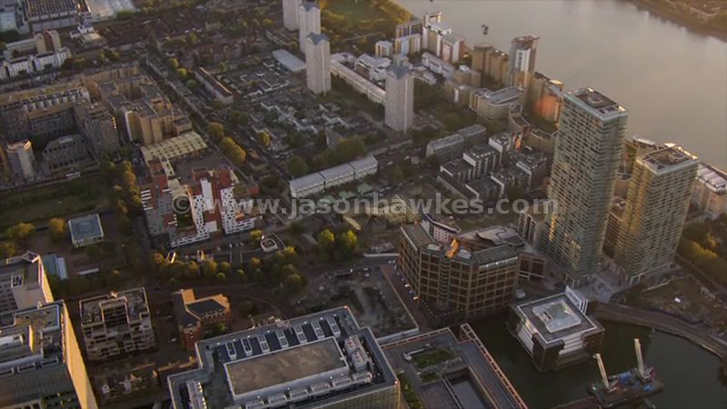 Aerial footage of Millwall, London