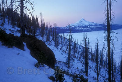 10,500 foot Mount Jefferson at dusk, from Black Butte near Bend, Oregon.