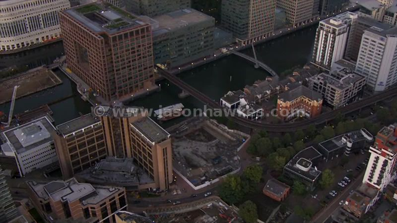 Aerial footage of South Dock at Canary Wharf, London