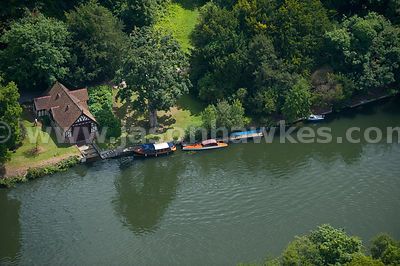 Aerial view of River Thames at Cliveden, Berkshire