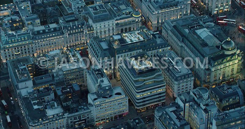 London Aerial Footage of Haymarket with St James's Market at night.
