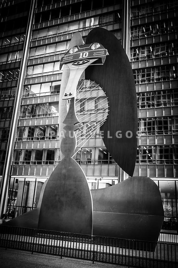 Chicago Picasso Sculpture in Black and White