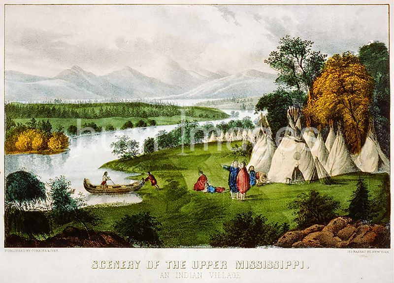 Scenery of the upper Mississippi an Indian village ca 1856-1907 printed