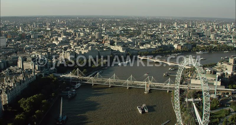 London Aerial Footage of London Eye and Golden Jubilee Bridge