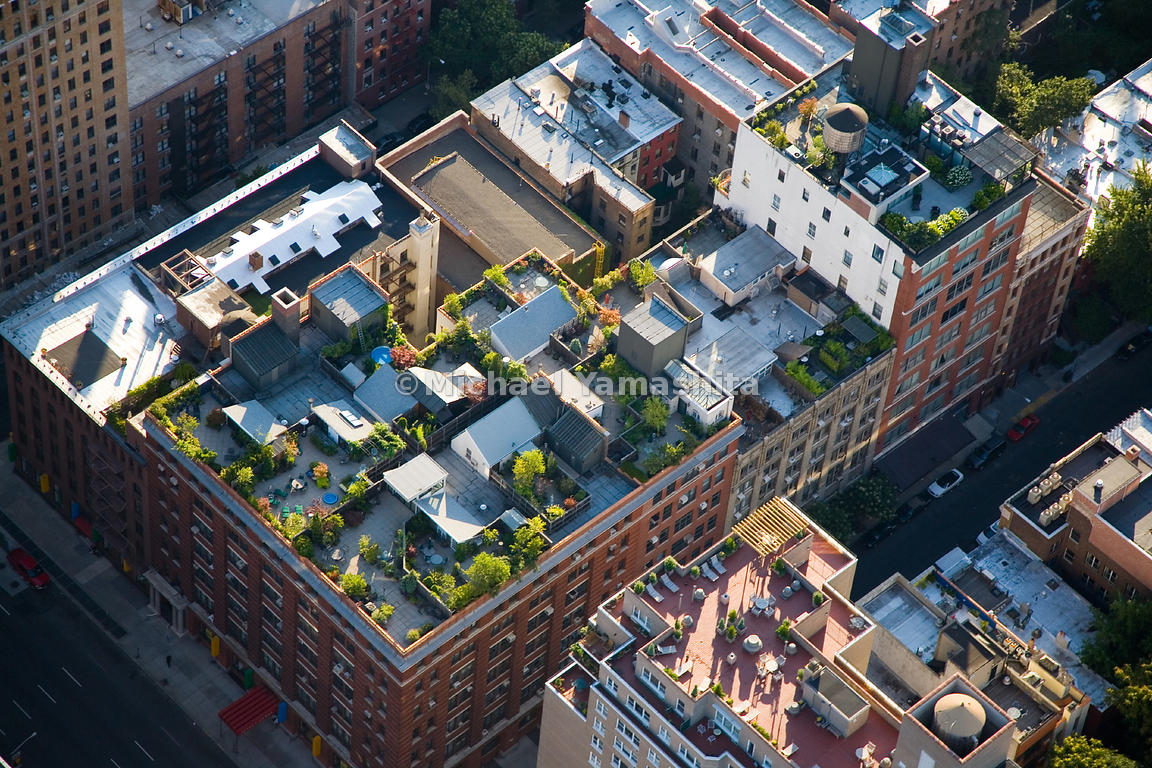 Rooftops in New York City are used for everything from mechanical equipment and water-tanks to elegant gardens and patios.