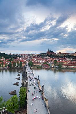 Looking down on St. Vitus Cathedral, Charles Bridge, UNESCO World Heritage Site, and the Castle District, Prague, Czech Repub...