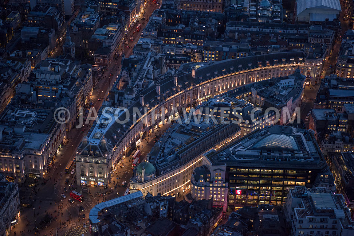 Aerial view of London, Piccadilly and Shaftesbury Avenue at night time.