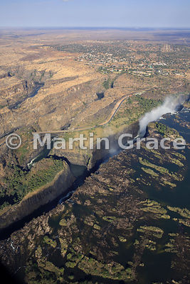 Victoria Falls (Mosi-oa-Tunya) from the air, Zimbabwe and Zambia, with Victoria Falls town beyond