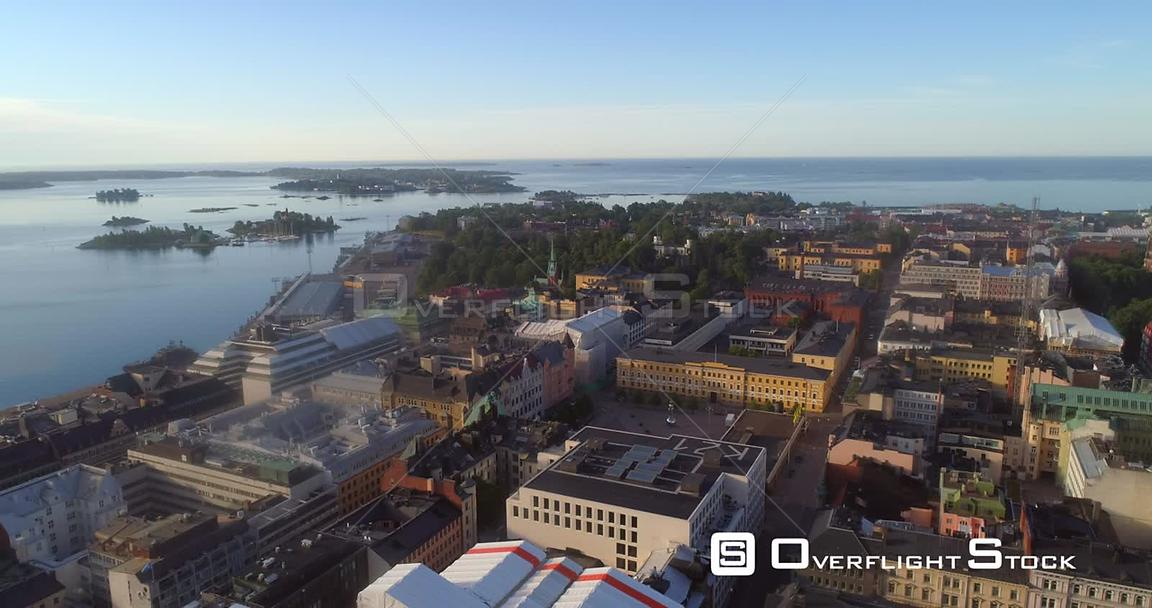 Helsinki City, Aerial View of Kaartinkaupunki Cityscape, Parks and Churches, on a Sunny Summer Morning Dawn, in Helsingfors, ...