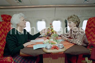 12/7/1988 Nancy Reagan and Barbara Bush on trip via First Lady airplane to Andrews AFB