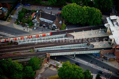 Aerial view over train station