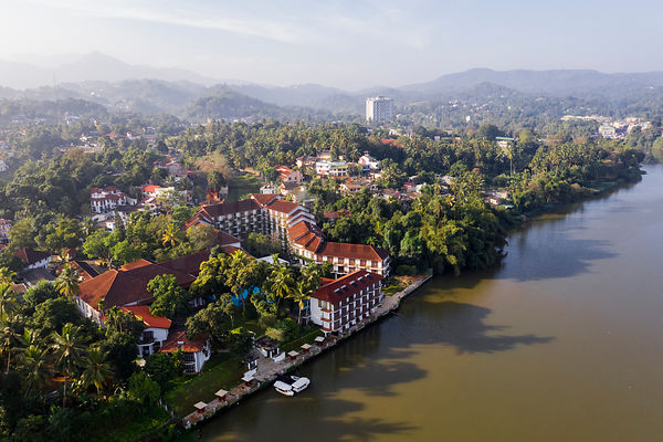 Aerial View of the Mahaweli Reach Hotel on the Bank of the Mahaweli River