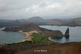 The foggy landscape of Bartolome Island.