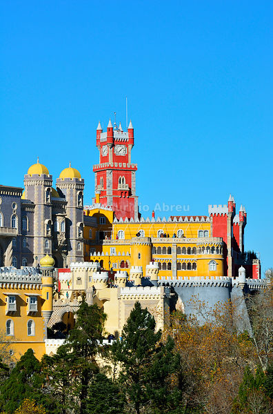 Palácio da Pena, built in the 19th century, in the forest above Sintra. A UNESCO World Heritage Site. Sintra, Portugal