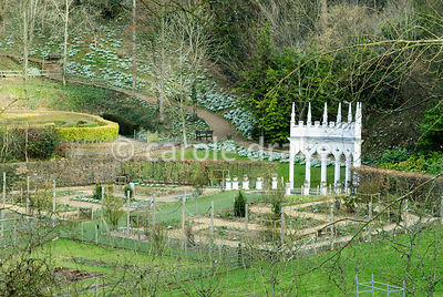 Exedra at the head of the geometric kitchen garden. Painswick Rococo Garden, Painswick, Glos, UK
