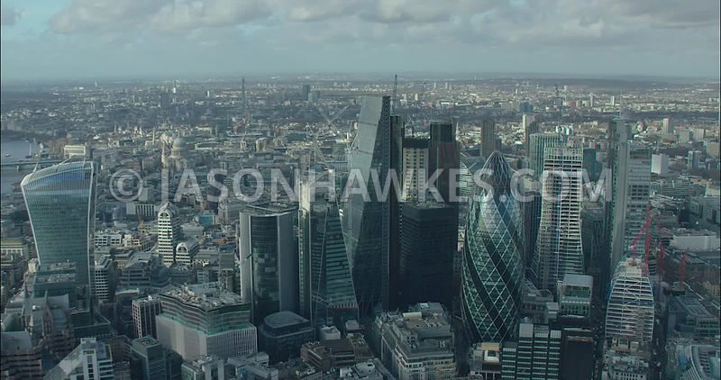 London Aerial footage, City of London skyline with 20 Fenchurch Street.