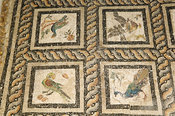 Mosaic floor in the Villa of the Birds from the 2nd century AD, Alexandria, Egypt