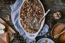 Baked Oatmeal with Date Butter, Apples and Walnuts