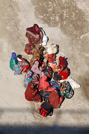 Top down view of women pilgrims in saris the 2013 Kumbh Mela, Allahabad, India.