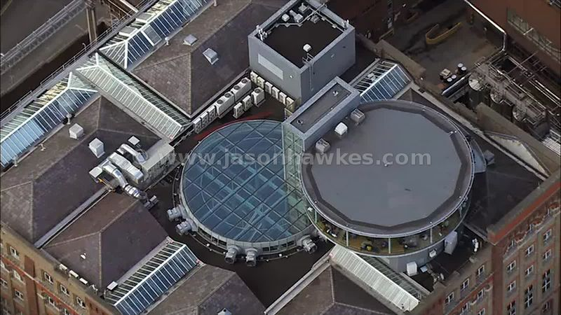 Aerial footage of the Guinness Brewery, Dublin, Ireland