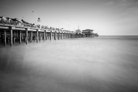 Santa Monica Pier Black and White Photo
