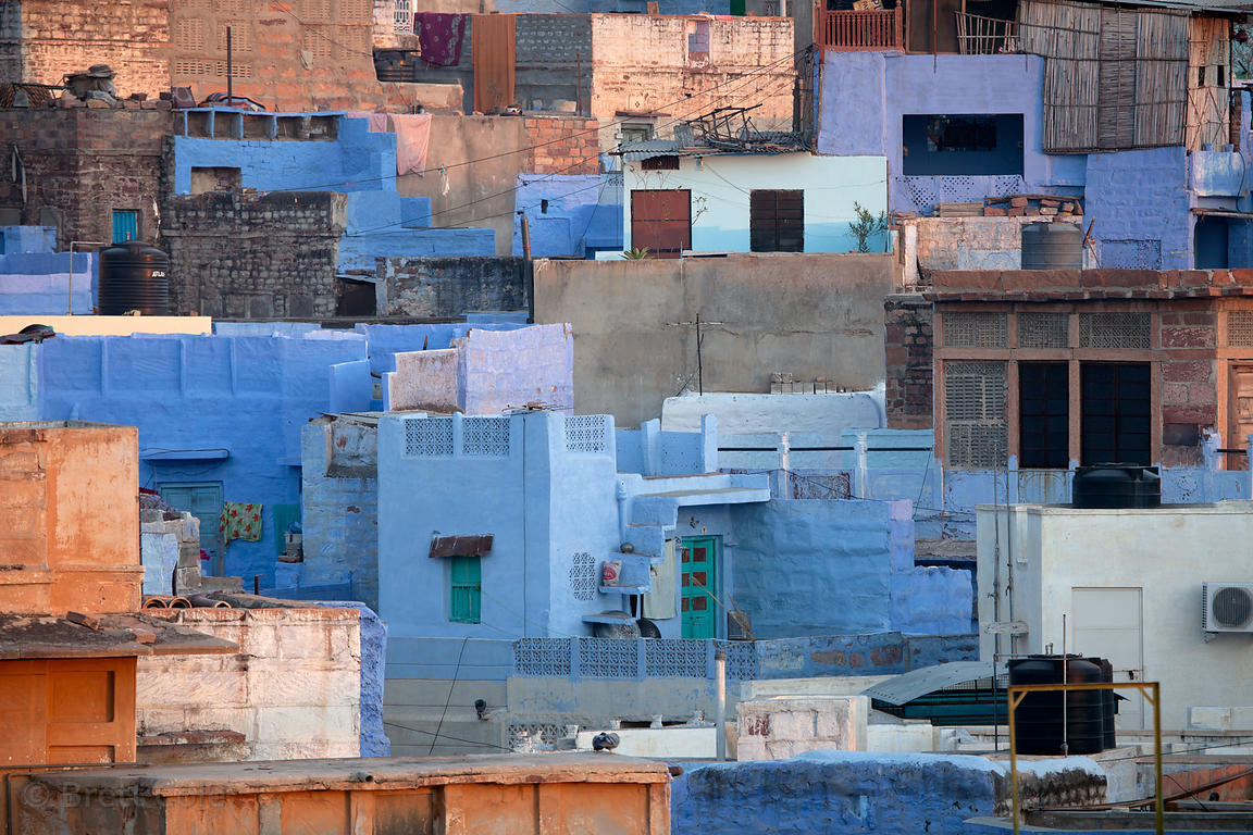 Early morning sun on pastel painted cubist houses in Jodhpur, Rajasthan, India