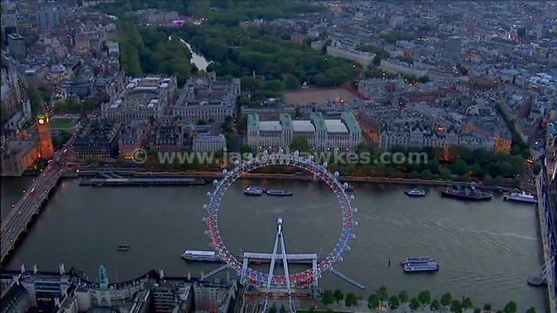 Aerial footage of the London Eye, London, England, Uk