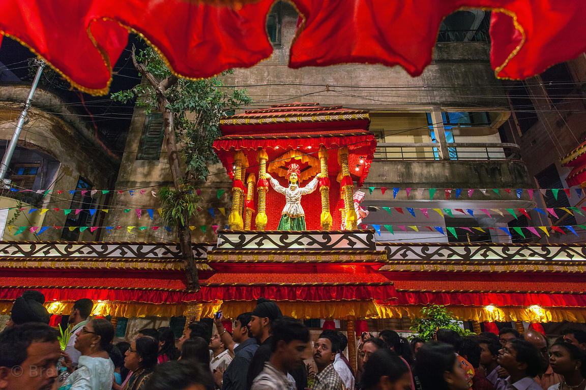 Interior of a large and elaborate pandal (temporary temple of sorts) to the Goddess Durga during the Durga Puja festival, Gar...