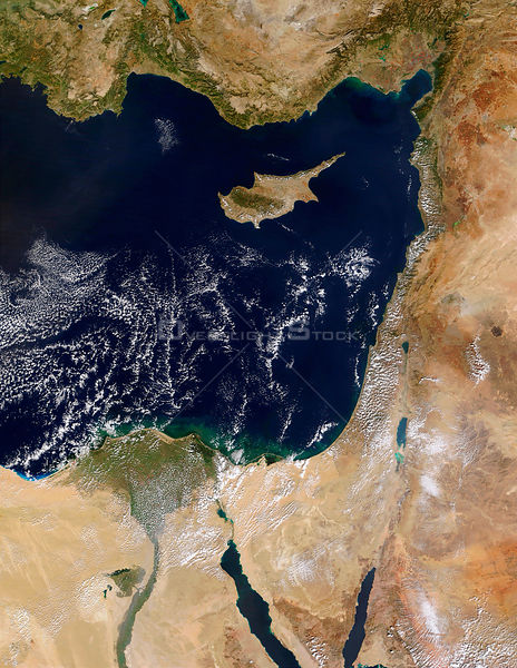 EARTH Middle East -- 10 Sep 2000 -- The coast of the Middle East and the Eastern Mediterranean Sea are visible in this NASA M...