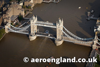 aerial photograph of Tower Bridge London UK