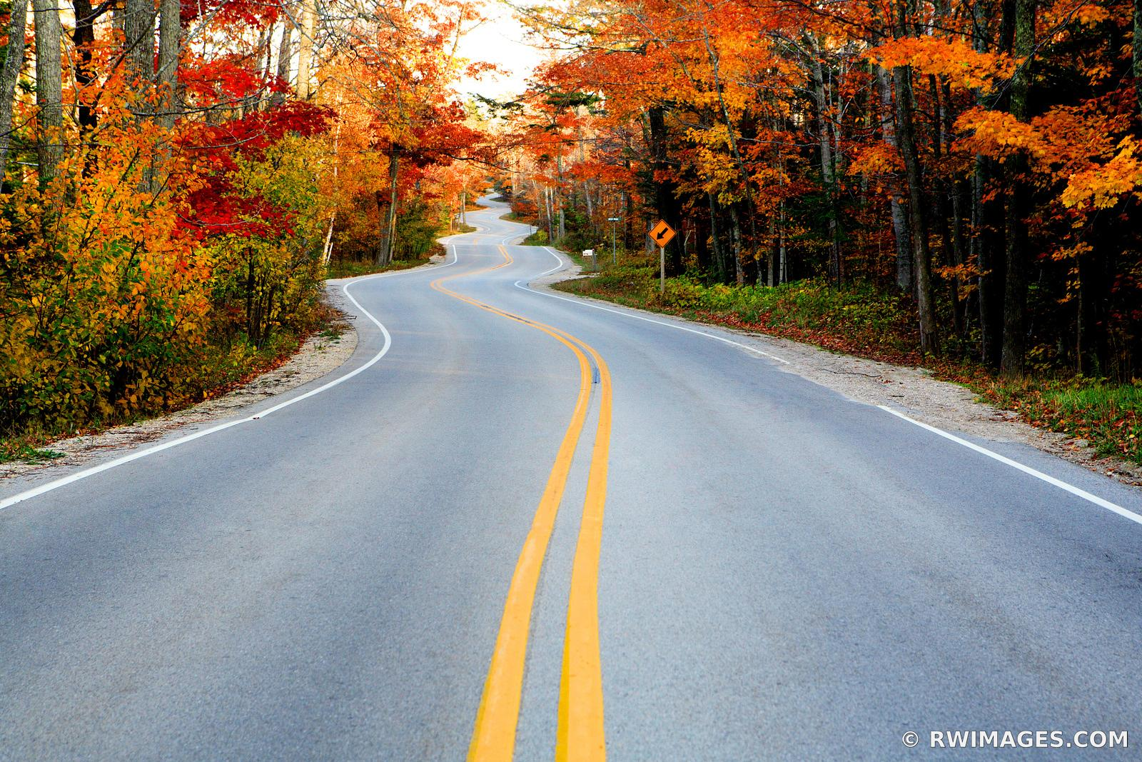 ROAD TO NORTHPORT DOOR COUNTY WISCONSIN FALL COLORS
