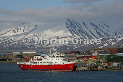 MS Nordsyssel (now called Polar Surveyor), a research/survey vessel, moored at Longyearbyen, Adventfjorden, Nordenskiold Land...