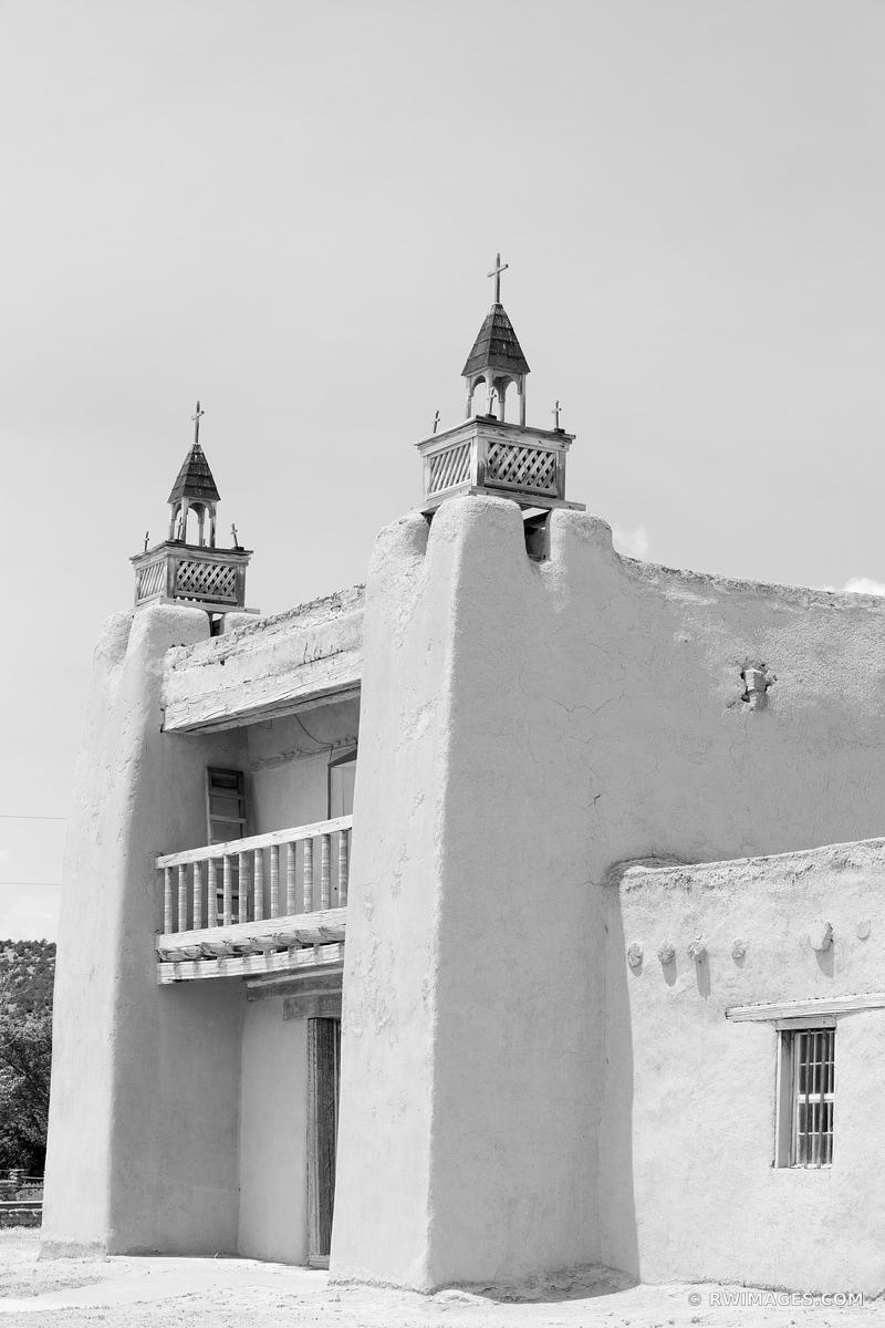 SAN JOSE DE GRACIA CHURCH LAS TRAMPAS HIGH ROAD TO TAOS NEW MEXICO BLACK AND WHITE VERTICAL