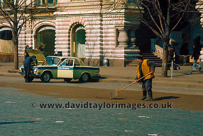 Workman and Police car| Moscow | March 1976