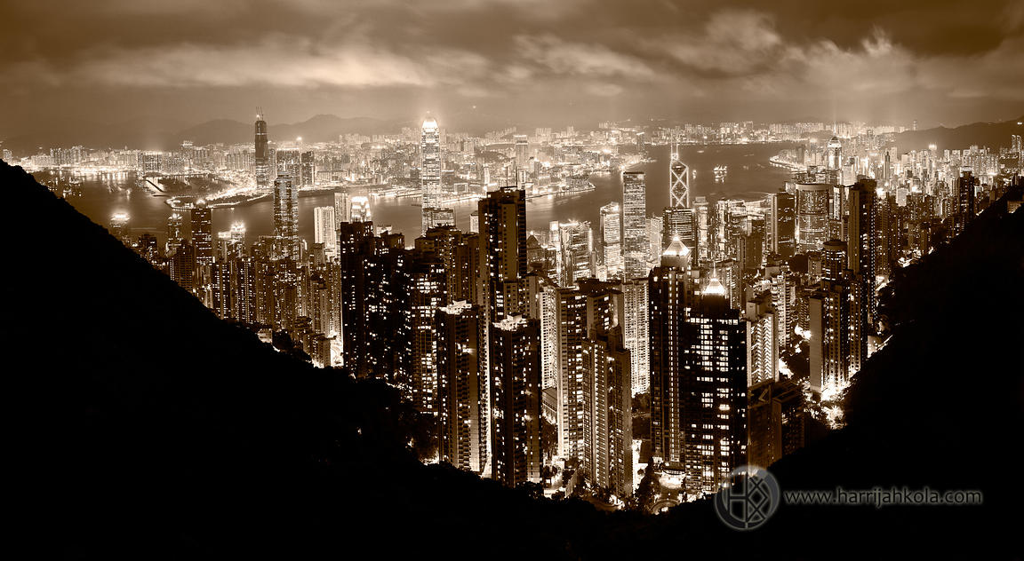 Hong Kong (Panorama From Victoria Peak At Night)