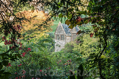 View of summerhouse through frame of trees. Mapperton House, Beaminster, Dorset, UK