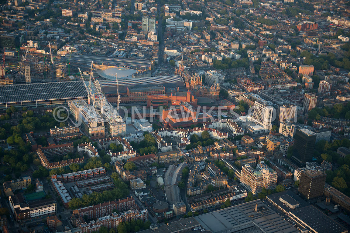 Aerial view of Euston and King's Cross St Pancras stations and Camden, London