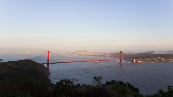 Wide Shot: Nice Wide Sunset Over The Golden Gate Bridge
