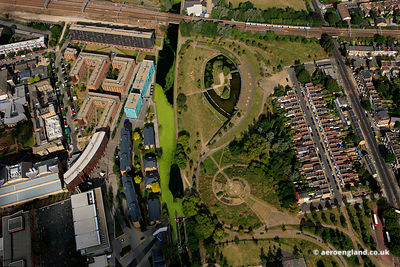 aerial photograph of Mile End Park London  England UK also showing the Algae explosion on the Regent's Canal