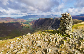 Views of Newlands Beck, High Spy, Narrow Moor and Maiden Moor in the Derwent Fells from the summit Cairn of Dale Head, Lake D...
