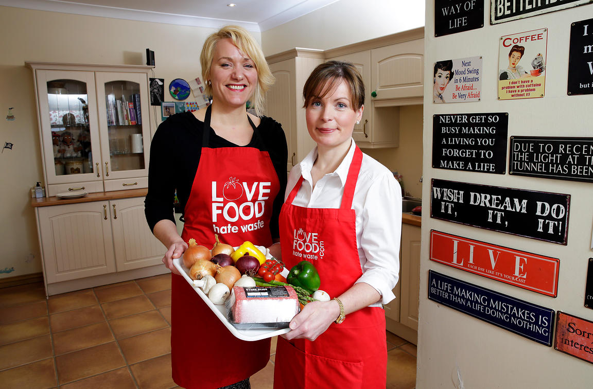Girvan, Scotland.16.3.16.We Hae Meat's Carlyn Paton with Ylva Haglund (Zero Waste Scotland's Consumer Campaign's Manager - Fo...