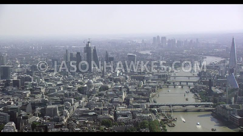 Aerial footage of the City of London, Square Mile.