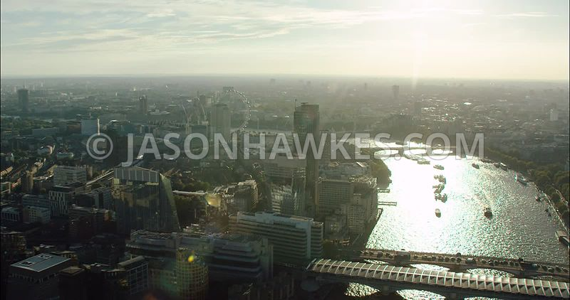 London Aerial Footage of Blackfriars Bridges and Southbank.