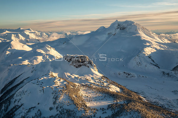 Winter Scenic of Table Mountain and Mount Garibaldi BC Canada