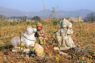 Hanuman idol in the desert, Pushkar, Rajasthan, India.