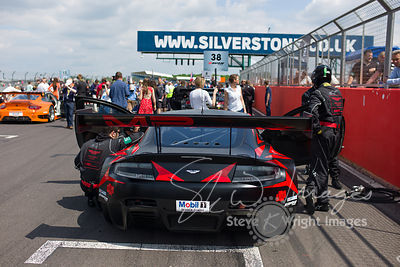 MP Motorsport's Aston Martin Vantage GT3 on the starting grid, at the Silverstone 500 - the third round of the British GT Cha...