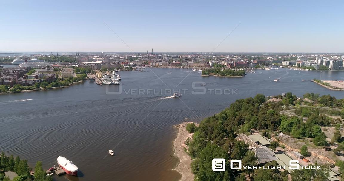 Ferry Infront of a City, Aerial View Towards a Boat, Outside Korkeasaari Island, on a Sunny Summer Day, in Helsinki, Uusimaa,...