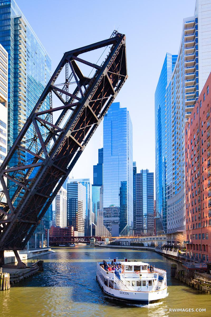 KINZIE BRIDGE CHICAGO RIVER DRAWBRIDGE BOAT CHICAGO ILLINOIS COLOR VERTICAL